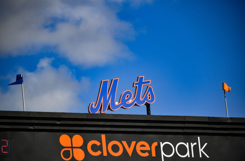 PORT ST. LUCIE, FLORIDA - FEBRUARY 20: A detaieled view of the the Mets logo during the team workout at Clover Park on February 20, 2020 in Port St. Lucie, Florida. (Photo by Mark Brown/Getty Images)