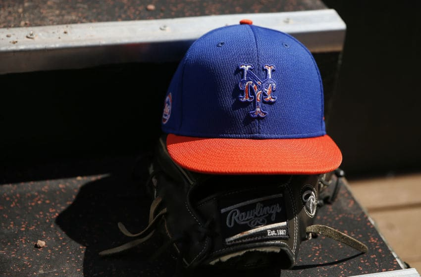 JUPITER, FLORIDA - FEBRUARY 22: A detail of a New York Mets hat during a spring training game against the St. Louis Cardinals at Roger Dean Stadium on February 22, 2020 in Jupiter, Florida. (Photo by Michael Reaves/Getty Images)