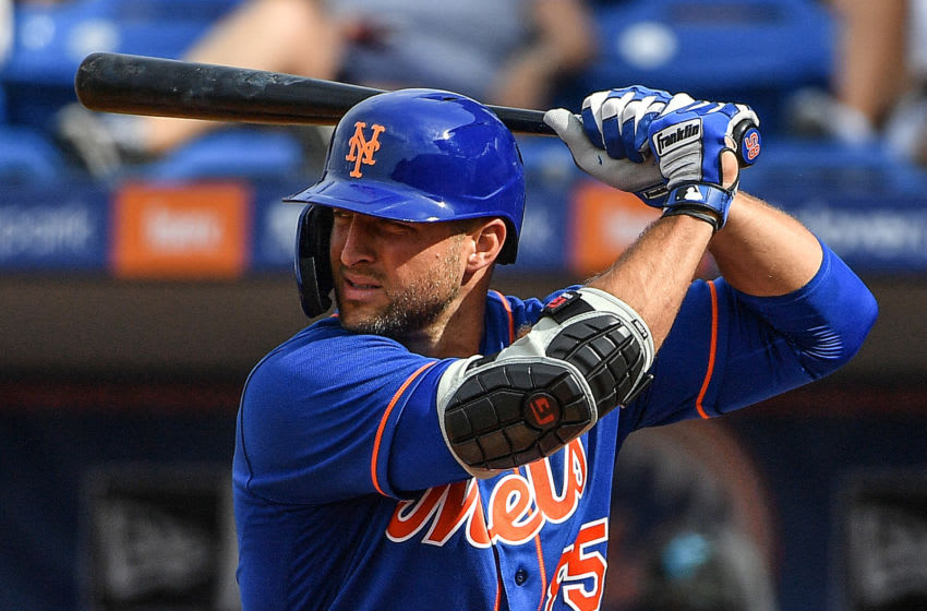 PORT ST. LUCIE, FLORIDA - MARCH 03: Tim Tebow #85 of the New York Mets prepares to bat in the seventh inning during the spring training game against the Miami Marlins at Clover Park on March 03, 2020 in Port St. Lucie, Florida. (Photo by Mark Brown/Getty Images)