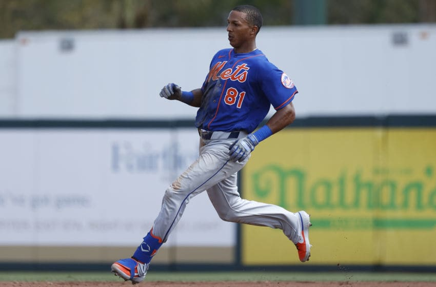 JUPITER, FL - MARCH 05: Johneshwy Fargas #81 of the New York Mets pulls up at second base after a double against the St Louis Cardinals in the fourth inning of a Grapefruit League spring training game on March 5, 2020 in Jupiter, Florida. The game ended in a 7-7 tie as Fargas hit for the cycle. (Photo by Joe Robbins/Getty Images)