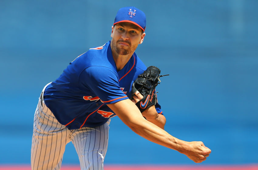 PORT ST. LUCIE, FL - MARCH 11: Jacob deGrom #48 of the New York Mets in action against the St. Louis Cardinals during a spring training baseball game at Clover Park at on March 11, 2020 in Port St. Lucie, Florida. (Photo by Rich Schultz/Getty Images)