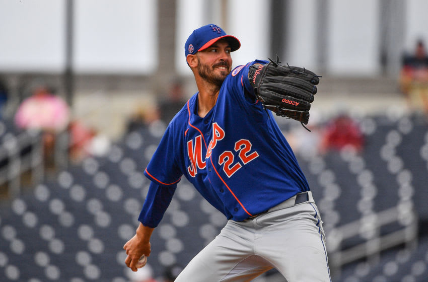 WEST PALM BEACH, FLORIDA - MARCH 10: Rick Porcello #22 of the New York Mets delivers a pitch during the spring training game against the Houston Astros at FITTEAM Ballpark of The Palm Beaches on March 10, 2020 in West Palm Beach, Florida. (Photo by Mark Brown/Getty Images)