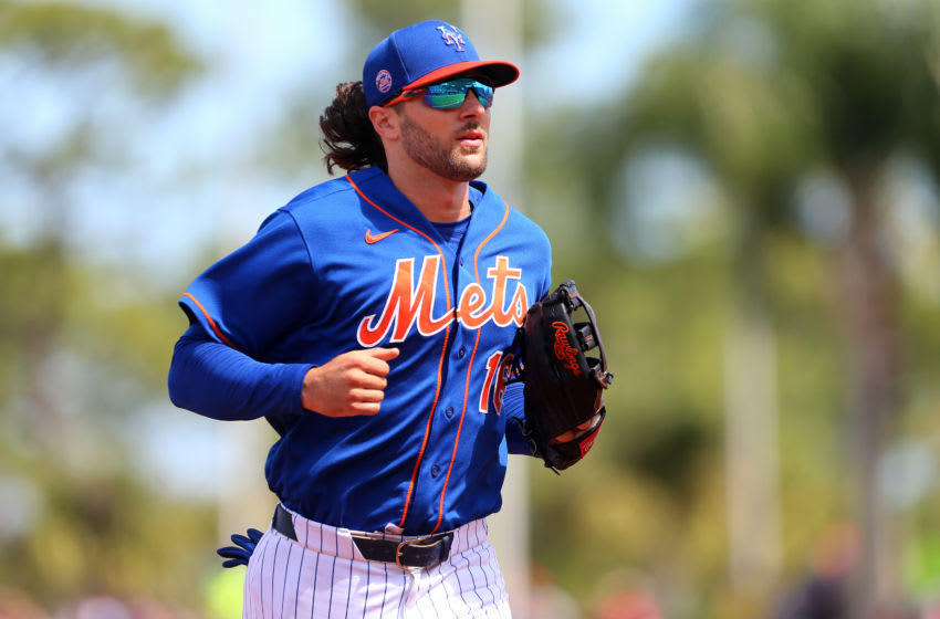 PORT ST. LUCIE, FL - MARCH 11: Jake Marisnick #16 of the New York Mets in action against the St. Louis Cardinals during a spring training baseball game at Clover Park at on March 11, 2020 in Port St. Lucie, Florida. (Photo by Rich Schultz/Getty Images)