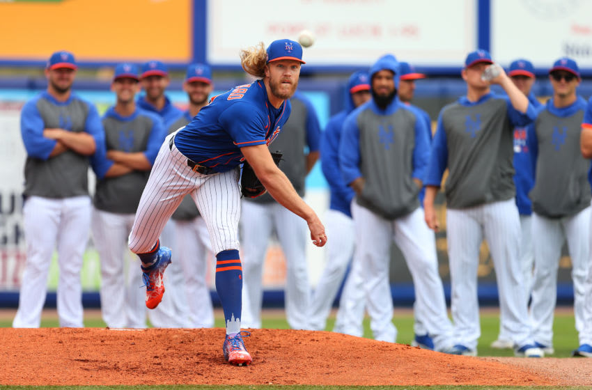 PORT ST. LUCIE, FL - MARCH 08: Noah Syndergaard #34 of the New York Mets warms up before a spring training baseball game against the Houston Astros at Clover Park on March 8, 2020 in Port St. Lucie, Florida. The Mets defeated the Astros 3-1. (Photo by Rich Schultz/Getty Images)