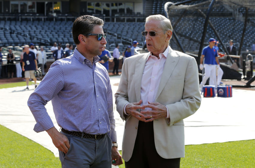 NEW YORK, NEW YORK - JUNE 28: (NEW YORK DAILIES OUT) New York Mets COO Jeff Wilpon (L) and majority owner Fred Wilpon during batting practice before a game against the Atlanta Braves at Citi Field on Friday, June 28, 2019 in the Queens borough of New York City. The Braves defeated the Mets 6-2. (Photo by Jim McIsaac/Getty Images)