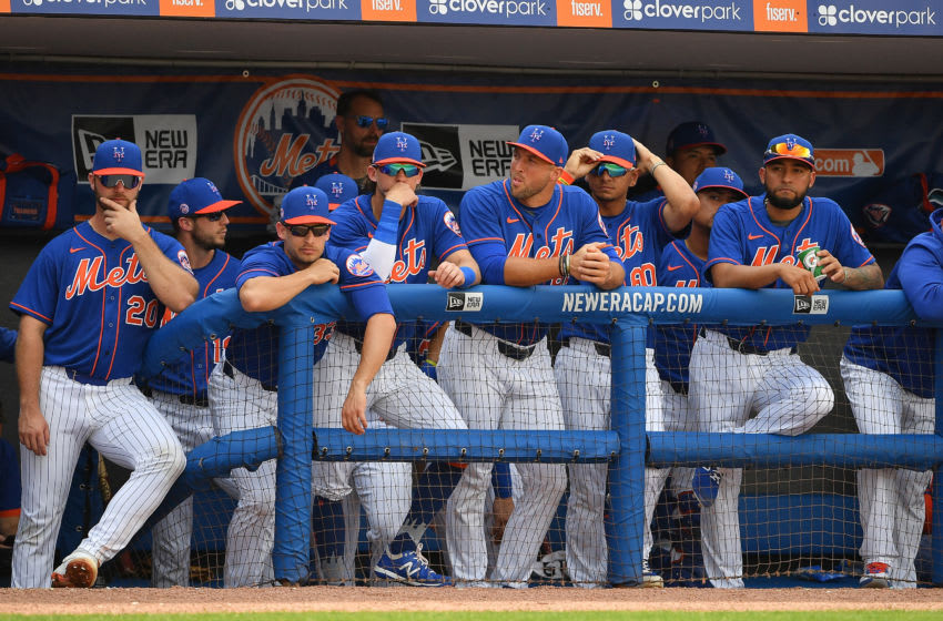 PORT ST. LUCIE, FLORIDA - MARCH 03: New York Mets look on from the dugout during the spring training game against the Miami Marlins at Clover Park on March 03, 2020 in Port St. Lucie, Florida. (Photo by Mark Brown/Getty Images)