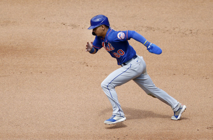 NEW YORK, NEW YORK - JULY 15: (NEW YORK DAILIES OUT) Andres Gimenez #60 of the New York Mets in action during an intra squad game at Citi Field on July 15, 2020 in New York City. (Photo by Jim McIsaac/Getty Images)