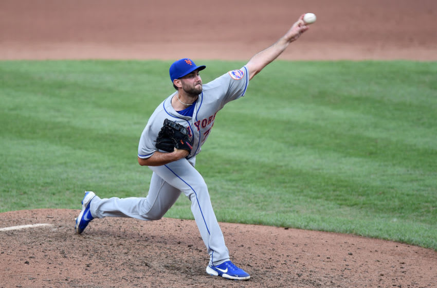 BALTIMORE, MD - SEPTEMBER 02: David Peterson #77 of the New York Mets pitches against the Baltimore Orioles at Oriole Park at Camden Yards on September 2, 2020 in Baltimore, Maryland. (Photo by G Fiume/Getty Images)