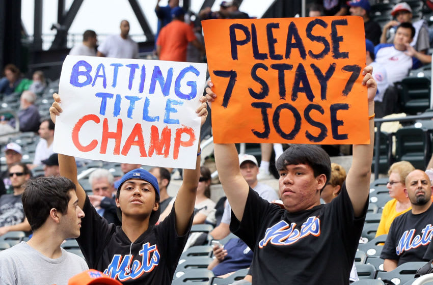 NEW YORK, NY - SEPTEMBER 28: Fans hold banners in reference to Jose Reyes #7 of the New York Mets during the game against the Cincinnati Reds at Citi Field on September 28, 2011 in the Flushing neighborhood of the Queens borough of New York City. (Photo by Jim McIsaac/Getty Images)