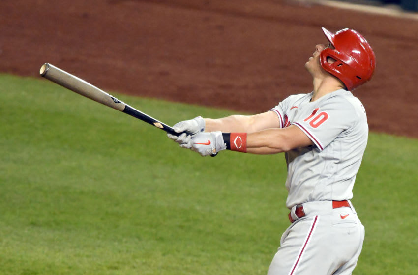 WASHINGTON, DC - SEPTEMBER 23: J.T. Realmuto #10 of the Philadelphia Phillies takes a swing during a baseball game against the Washington Nationals at Nationals Park on September 23, 2020 in Washington, DC. (Photo by Mitchell Layton/Getty Images)