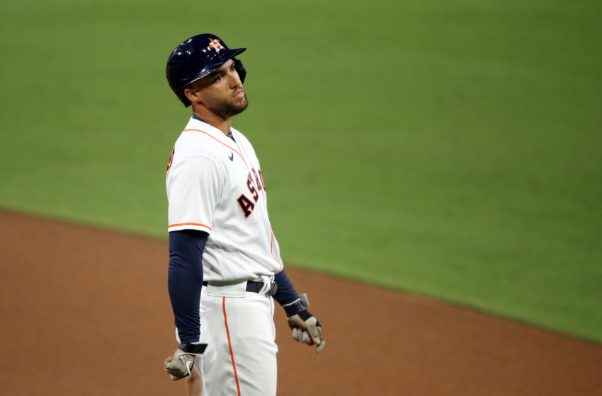 SAN DIEGO, CALIFORNIA - OCTOBER 14: George Springer #4 of the Houston Astros looks on after grounding out during the third inning in Game Four of the American League Championship Series at PETCO Park on October 14, 2020 in San Diego, California. (Photo by Sean M. Haffey/Getty Images)