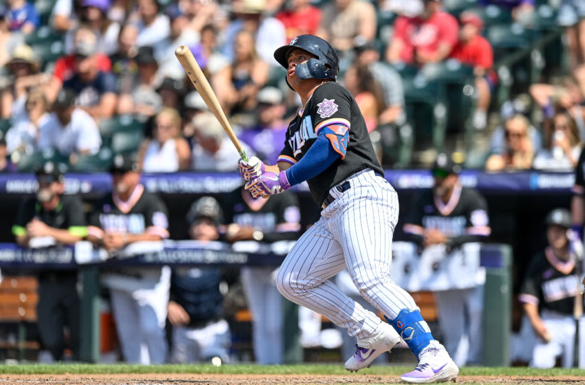 DENVER, CO - JULY 11: Francisco Alvarez #30 of National League Futures Team hits a solo homerun against the American League Futures Team at Coors Field on July 11, 2021 in Denver, Colorado.(Photo by Dustin Bradford/Getty Images)