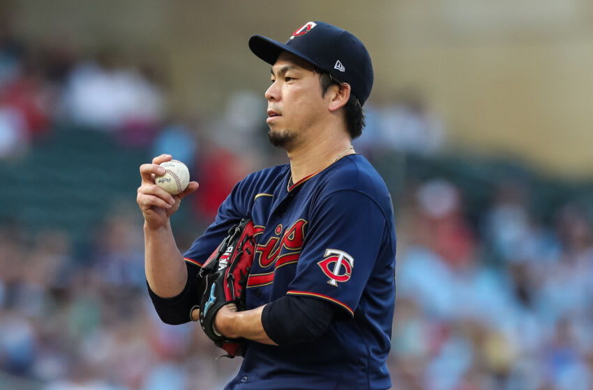 MINNEAPOLIS, MN - JULY 9: Kenta Maeda #18 of the Minnesota Twins looks on against the Detroit Tigers in the third inning of the game at Target Field on July 9, 2021 in Minneapolis, Minnesota. The Twins defeated the Tigers 4-2. (Photo by David Berding/Getty Images)