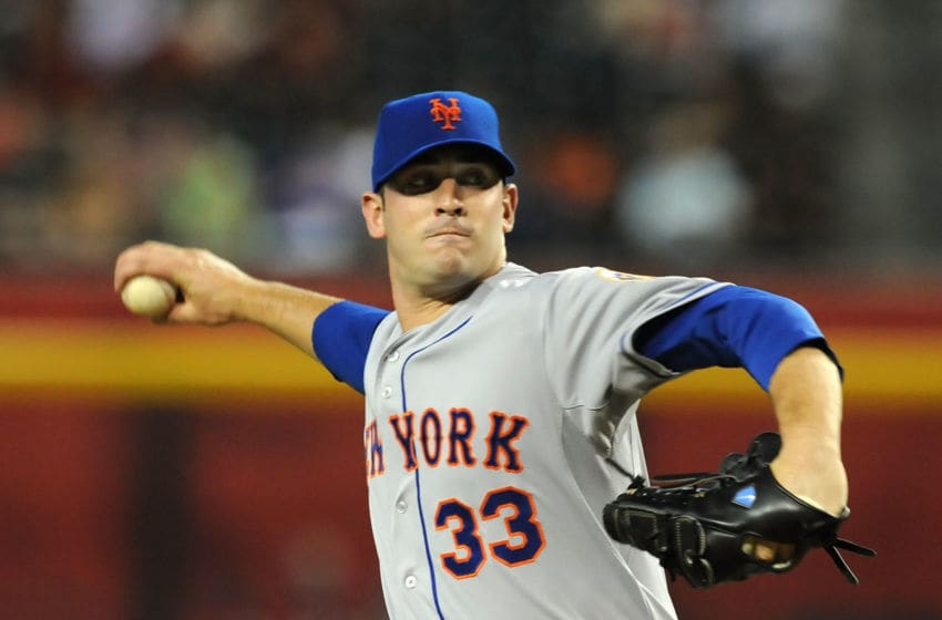 PHOENIX, AZ - JULY 26: Matt Harvey #33 of the New York Mets delivers his first Major League Baseball pitch against the Arizona Diamondbacks at Chase Field on July 26, 2012 in Phoenix, Arizona. (Photo by Norm Hall/Getty Images)