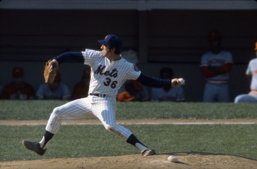 NEW YORK - CIRCA 1970: Pitcher Jerry Koosman #36 of the New York Mets pitches against the Cincinnati Reds during an Major League Baseball game circa 1970 at Shea Stadium in the Queens borough of New York City. Koosman played for the Mets from 1967-78. (Photo by Focus on Sport/Getty Images)