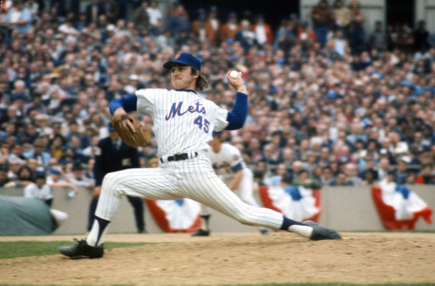 QUEENS, NY - OCTOBER, 1969: Pitcher Tug McGraw #45 of the New York Mets pitches against the Baltimore Orioles during The 1969 World Series October 1969 at Shea Stadium In the Queens borough of New York City. The Mets won the Series 4 games to 1. (Photo by Focus on Sport/Getty Images)