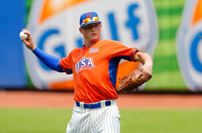 NEW YORK, NY - JULY 14: (NEW YORK DAILIES OUT) Brandon Nimmo of the United States warms up before the SiriusXM All-Star Futures Game on July 14, 2013 at Citi Field in the Flushing neighborhood of the Queens borough of New York City. The United States defeated the World Team 4-2. (Photo by Jim McIsaac/Getty Images)