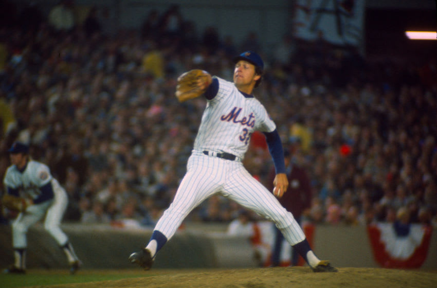 NEW YORK - OCTOBER 17: Jon Matlack #32 of the New York Mets pitches against the Oakland Athletics during game 4 of the 1973 World Series October 17, 1973 at Shea Stadium in the Queens borough of New York City. The Athletics won the series 4-3. (Photo by Focus on Sport/Getty Images)