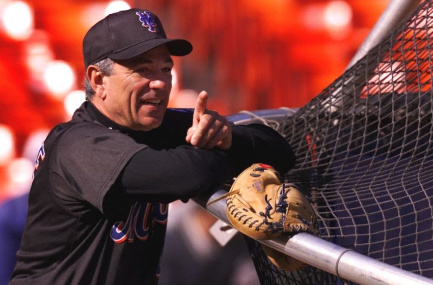NEW YORK, UNITED STATES: New York Mets' manager Bobby Valentine watches batting practice 23 October 2000 at Shea Stadium in Flushing Meadows, NY. The Mets trail the New York Yankees 2-0 in the World Series with game three on 24 October. AFP PHOTO/Jeff HAYNES (Photo credit should read JEFF HAYNES/AFP via Getty Images)