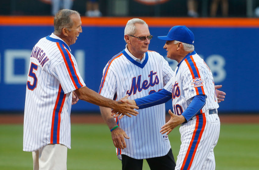 NEW YORK, NY - MAY 28: (NEW YORK DAILIES OUT) Manager Terry Collins #10 of the New York Mets greets Davey Johnson and Bud Harrelson during a ceremony prior to a game against the Los Angeles Dodgers at Citi Field on Saturday, May 28, 2016 in the Queens Borough of New York City. The Dodgers defeated the Mets 9-1. (Photo by Jim McIsaac/Getty Images)