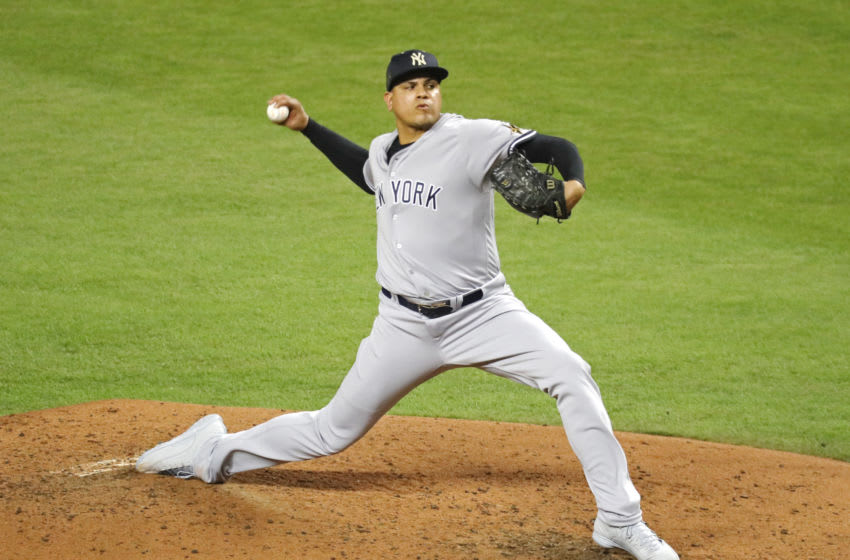 MIAMI, FL - JULY 11: Dellin Betances #68 of the New York Yankees and the American League delivers the pitch during the 88th MLB All-Star Game at Marlins Park on July 11, 2017 in Miami, Florida. (Photo by Rob Carr/Getty Images)