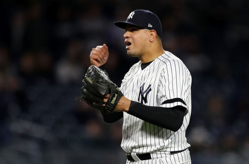 NEW YORK, NY - OCTOBER 16: Dellin Betances #68 of the New York Yankees reacts as he is pulled from the game after walking the first two batters of the ninth inning against the Houston Astros in Game Three of the American League Championship Series at Yankee Stadium on October 16, 2017 in the Bronx borough of New York City. (Photo by Elsa/Getty Images)