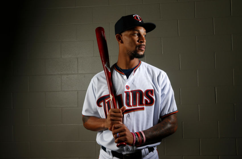 FT. MYERS, FL - FEBRUARY 21: Byron Buxton #25 of the Minnesota Twins poses for a portrait on February 21, 2018 at Hammond Field in Ft. Myers, Florida. (Photo by Brian Blanco/Getty Images)