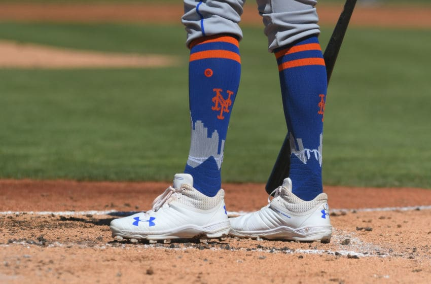 LAKELAND, FL - MARCH 09: A detailed view of the custom socks worn by José Reyes #7 of the New York Mets during the Spring Training game against the Detroit Tigers at Publix Field at Joker Marchant Stadium on March 9, 2018 in Lakeland, Florida. The game ended in a 4-4 tie. (Photo by Mark Cunningham/MLB Photos via Getty Images )