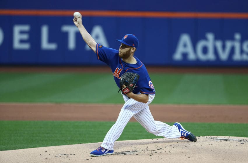 NEW YORK, NY - JUNE 22: Zack Wheeler (45) of the New York Mets pitches against the Los Angeles Dodgers during their game at Citi Field on June 22, 2018 in New York City. (Photo by Al Bello/Getty Images)