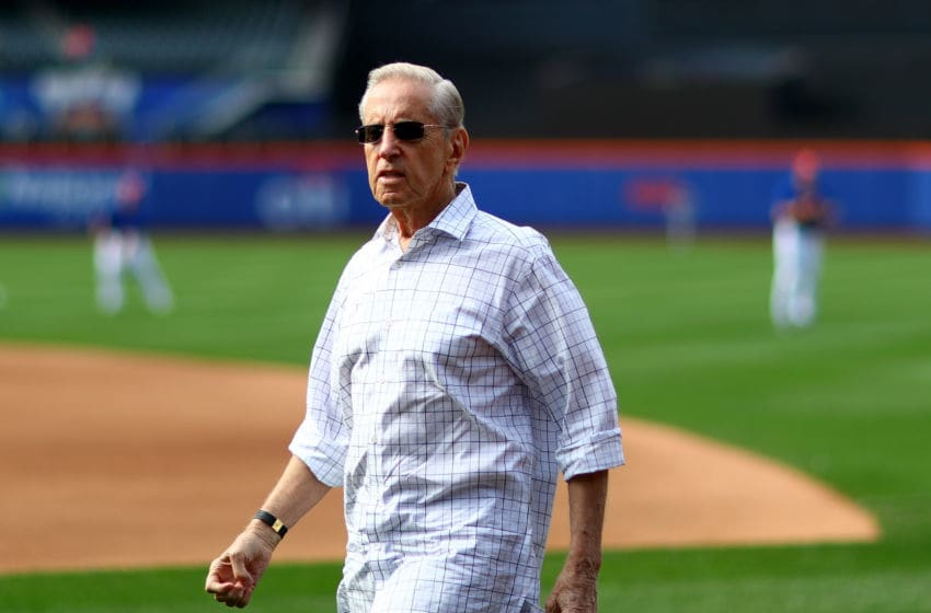 NEW YORK, NY - JULY 02: New York Mets owner Fred Wilpon takes in batting practice before the game between the New York Mets and the Chicago Cubs at Citi Field on July 2, 2016 in the Flushing neighborhood of the Queens borough of New York City. (Photo by Elsa/Getty Images)