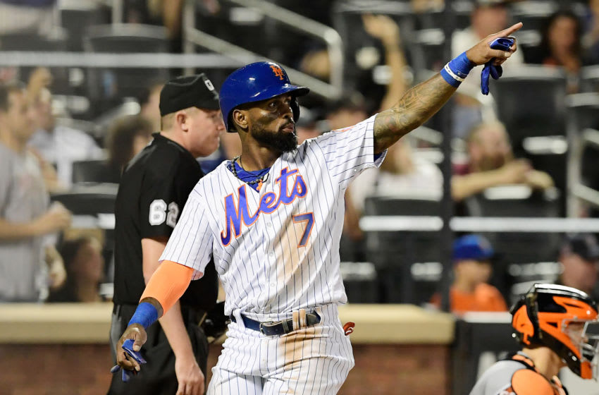 NEW YORK, NY - AUGUST 21: Jose Reyes #7 of the New York Mets celebrates scoring a run against the San Francisco Giants at Citi Field on August 21, 2018 in the Flushing neighborhood of the Queens borough of New York City. (Photo by Steven Ryan/Getty Images)