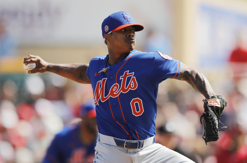 JUPITER, FLORIDA - FEBRUARY 22: Marcus Stroman #0 of the New York Mets delivers a pitch in the second inning of a Grapefruit League spring training game at Roger Dean Stadium on February 22, 2020 in Jupiter, Florida. (Photo by Michael Reaves/Getty Images)