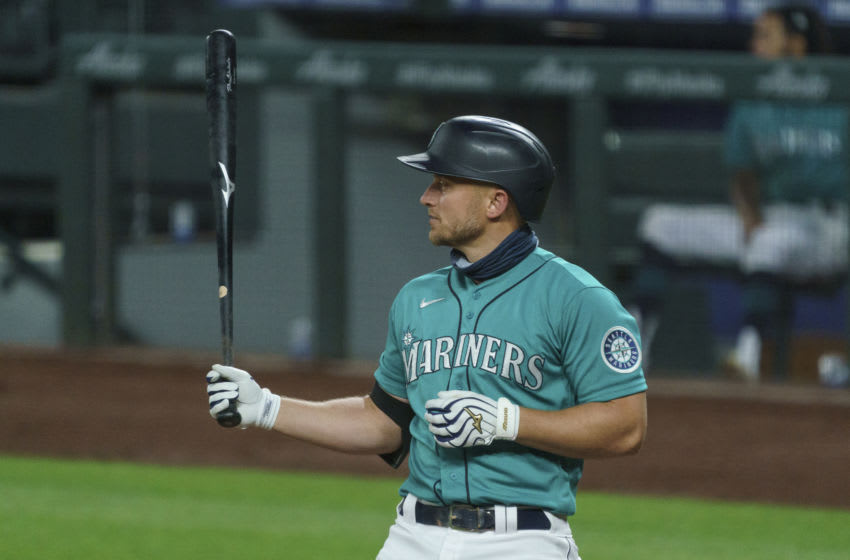 SEATTLE, WA - AUGUST 21: Kyle Seager #15 of the Seattle Mariners waits for a pitch during an at-bat in a game against the Texas Rangers at T-Mobile Park on August, 21, 2020 in Seattle, Washington. The Mariners won 7-4. (Photo by Stephen Brashear/Getty Images)