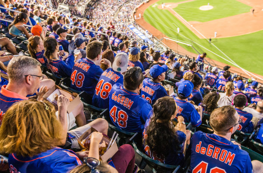 NEW YORK, NY - AUGUST 4: New York Mets fans wearing Jacob deGrom jerseys watch the game from the upper deck during the game against the Los Angeles Dodgers at Citi Field on August 4, 2017 in the Queens borough of New York City. (Photo by Rob Tringali/SportsChrome/Getty Images) *** Local Caption ***
