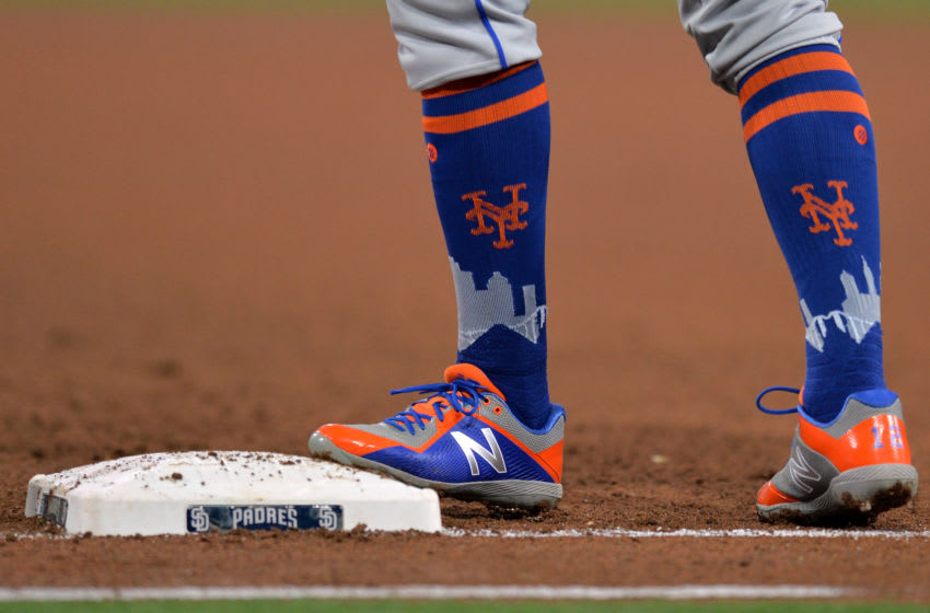 Apr 27, 2018; San Diego, CA, USA; A detailed view of the cleats and socks worn by New York Mets center fielder Juan Lagares during the fourth inning against the San Diego Padres at Petco Park. Mandatory Credit: Jake Roth-USA TODAY Sports