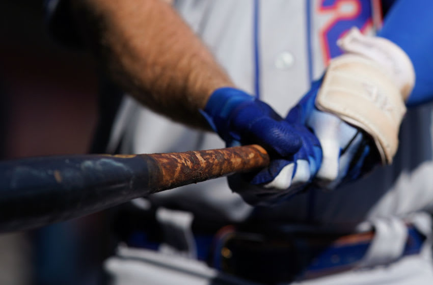 Sep 21, 2019; Cincinnati, OH, USA; A view of the bat held by New York Mets first baseman Pete Alonso (20) against the Cincinnati Reds at Great American Ball Park. Mandatory Credit: Aaron Doster-USA TODAY Sports