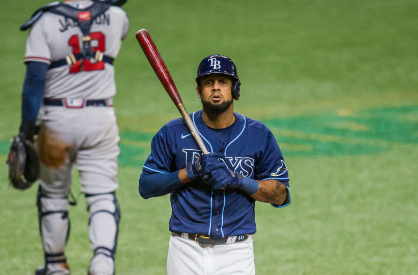 Jul 28, 2020; St. Petersburg, Florida, USA; Tampa Bay Rays designated hitter Jose Martinez (40) strikes out during the fifth inning of a game against the Atlanta Braves at Tropicana Field. Mandatory Credit: Mary Holt-USA TODAY Sports