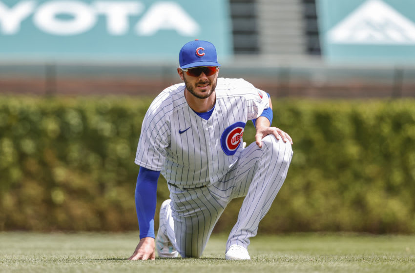 May 7, 2021; Chicago, Illinois, USA; Chicago Cubs third baseman Kris Bryant (17) warms up before an MLB game against the Pittsburgh Pirates at Wrigley Field. Mandatory Credit: Kamil Krzaczynski-USA TODAY Sports