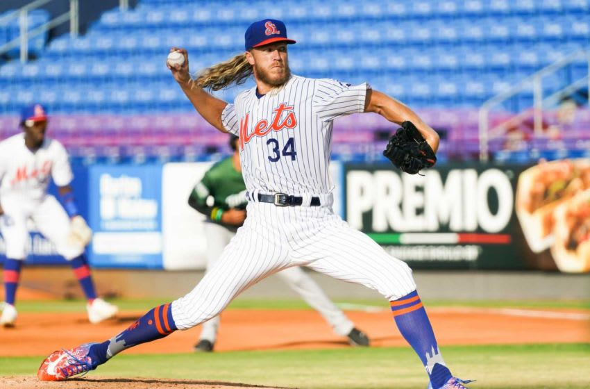 New York Mets pitcher Noah Syndergaard delivers a pitch during the first inning of a rehab assignment start for the St. Lucie Mets against Daytona Tortugas on Tuesday, May 25, 2021, at Clover Park in Port St. Lucie. According to a statement from the Mets, Syndergaard was removed after one inning due to right elbow soreness. Tcn Syndergaard