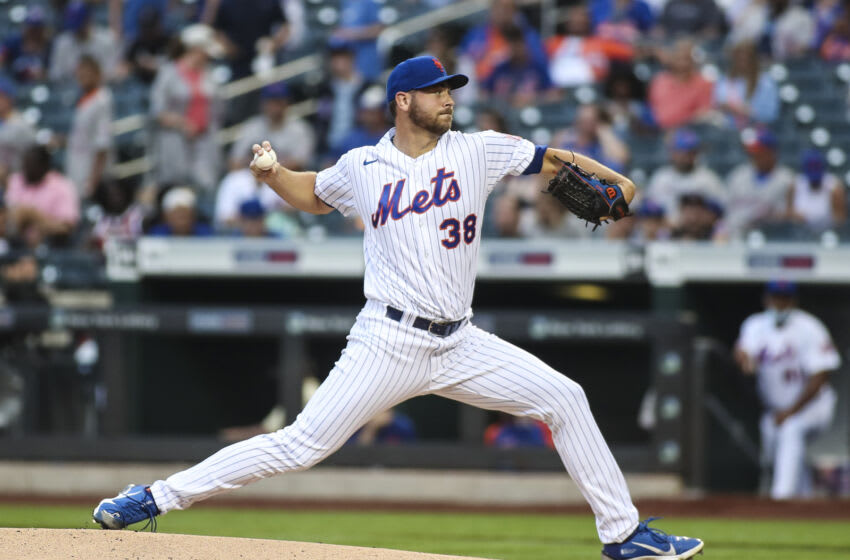 Jul 10, 2021; New York City, New York, USA; New York Mets pitcher Tylor Megill (38) pitches against the Pittsburgh Pirates in the first inning at Citi Field. Mandatory Credit: Wendell Cruz-USA TODAY Sports