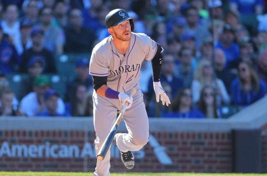 Apr 16, 2016; Chicago, IL, USA; Colorado Rockies shortstop Trevor Story (27) hits a double during the ninth inning against the Chicago Cubs at Wrigley Field. Chicago won 6-2. Mandatory Credit: Dennis Wierzbicki-USA TODAY Sports