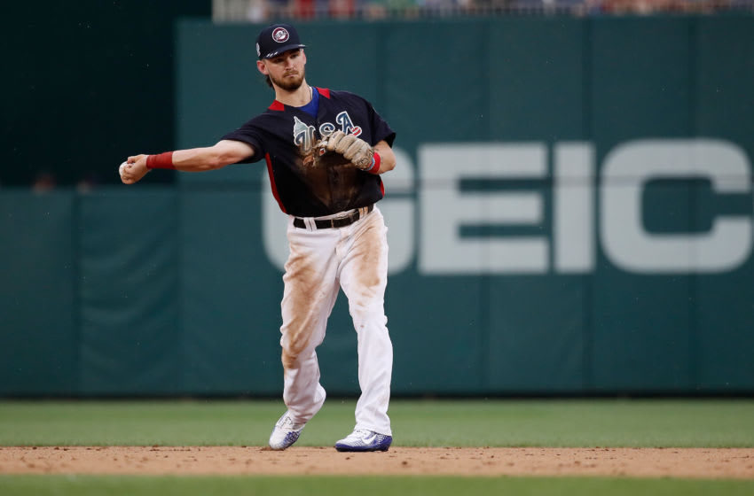 WASHINGTON, DC - JULY 15: Brendan Rodgers #1 of the Colorado Rockies and the U.S. Team makes a play during the SiriusXM All-Star Futures Game at Nationals Park on July 15, 2018 in Washington, DC. (Photo by Patrick McDermott/Getty Images)