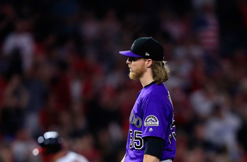 ANAHEIM, CA - AUGUST 27: Jon Gray #55 of the Colorado Rockies looks on after allowing a solo homerun to Mike Trout #27 of the Los Angeles Angels of Anaheim during the sixth inning of a game at Angel Stadium on August 27, 2018 in Anaheim, California. (Photo by Sean M. Haffey/Getty Images)
