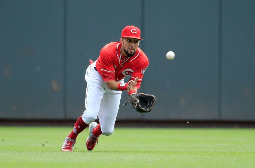 CINCINNATI, OH - SEPTEMBER 12: Billy Hamilton #6 of the Cincinnati Reds dives to catch a ball in the first inning against the Los Angeles Dodgers at Great American Ball Park on September 12, 2018 in Cincinnati, Ohio. (Photo by Andy Lyons/Getty Images)
