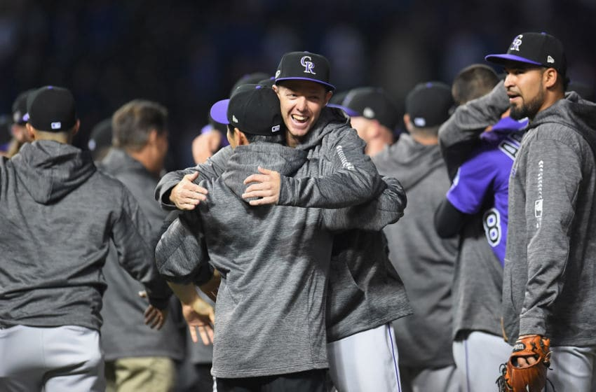 CHICAGO, IL - OCTOBER 02: The Colorado Rockies celebrate defeating the Chicago Cubs 2-1 in thirteen innings to win the National League Wild Card Game at Wrigley Field on October 2, 2018 in Chicago, Illinois. (Photo by Stacy Revere/Getty Images)