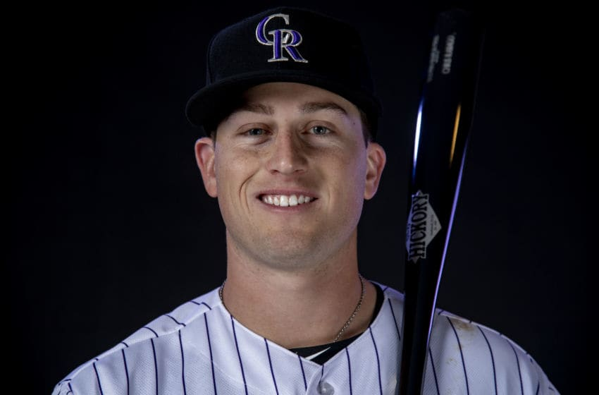 SCOTTSDALE, AZ - FEBRUARY 20: Bret Boswell #82 of the Colorado Rockies poses during MLB Photo Day on February 20, 2019 at Salt River Fields at Talking Stick in Scottsdale, Arizona. (Photo by Justin Tafoya/Getty Images)