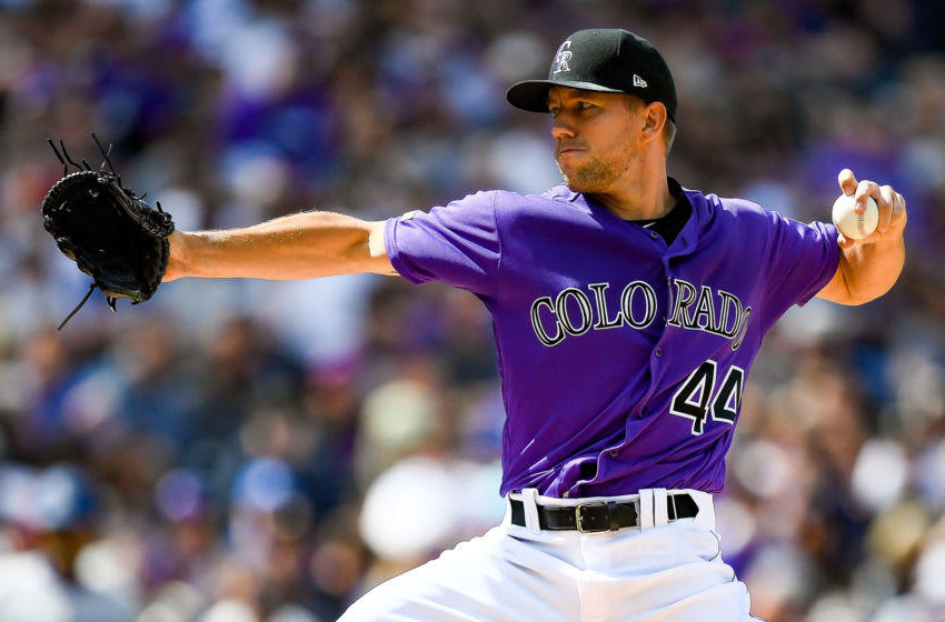 DENVER, CO - APRIL 5: Tyler Anderson #44 of the Colorado Rockies pitches against the Los Angeles Dodgers in the second inning during the home opener at Coors Field on April 5, 2019 in Denver, Colorado. (Photo by Dustin Bradford/Getty Images)