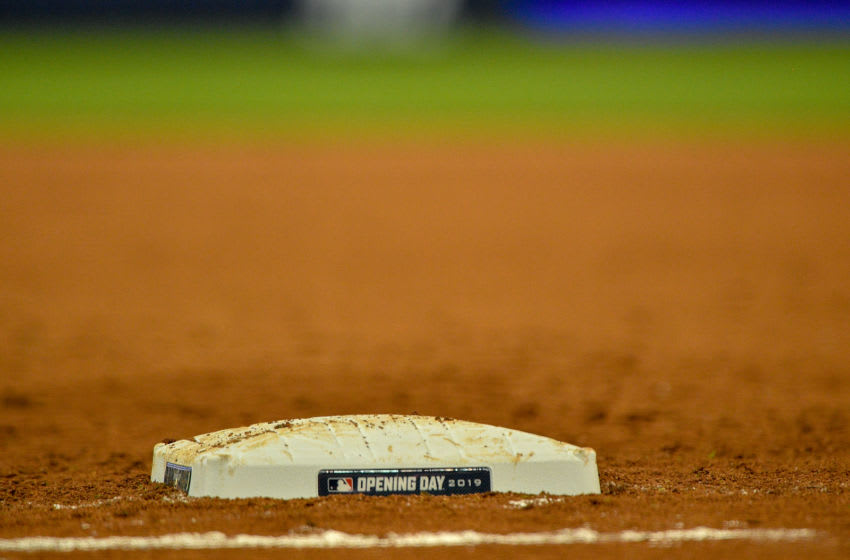 MIAMI, FL - MARCH 28: A detailed view of first base used during the game between the Miami Marlins and the Colorado Rockies on Opening Day at Marlins Park on March 28, 2019 in Miami, Florida. (Photo by Mark Brown/Getty Images)