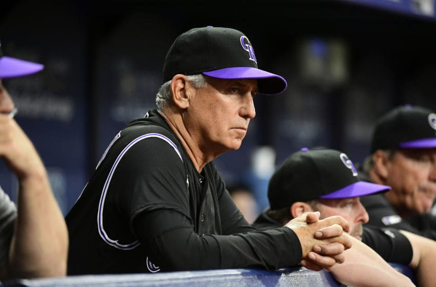 ST PETERSBURG, FLORIDA - APRIL 01: Bud Black #10 of the Colorado Rockies watches gameplay during the fourth inning against the Tampa Bay Rays at Tropicana Field on April 01, 2019 in St Petersburg, Florida. (Photo by Julio Aguilar/Getty Images)