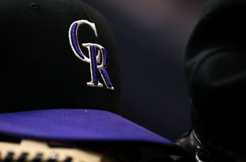 MILWAUKEE, WISCONSIN - APRIL 29: A detail view of a Colorado Rockies cap during the game against the Milwaukee Brewers at Miller Park on April 29, 2019 in Milwaukee, Wisconsin. (Photo by Dylan Buell/Getty Images)